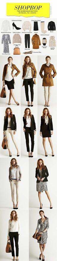 Useful guide for mixing a few pieces to create stylish business casual looks. I do want to make a wardrobe investment like this!
