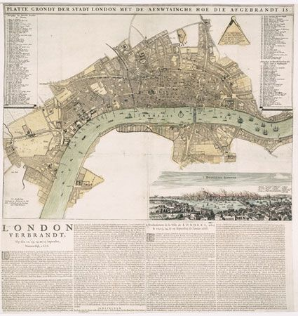 A rare broadsheet map of the Great Fire of London