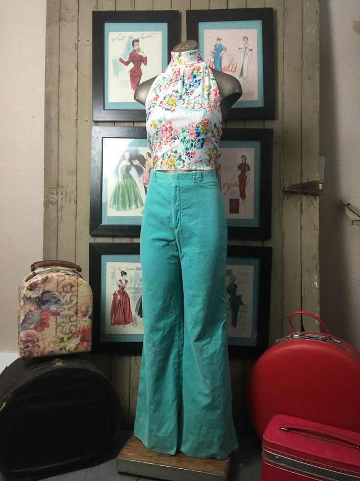 1970s aqua pants 70s corduroy pants size small Vintage pants high waist pants ellen tracy by melsvanity on Etsy