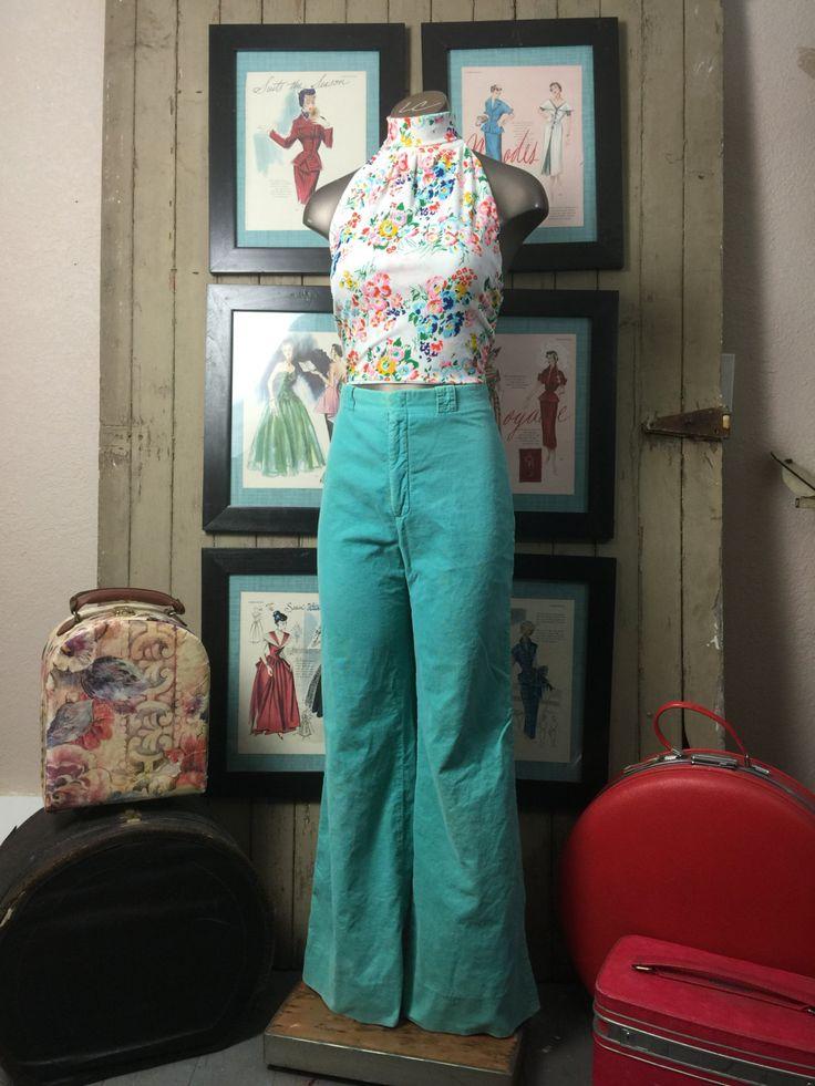 1970s aqua pants 70s corduroy pants size small Vintage pants high waist pants ellen tracy by melsvanity on Etsy