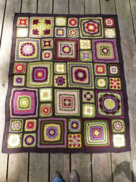 Alison's Stained Glass Garden. All crochet square patterns are available on Ravelry.