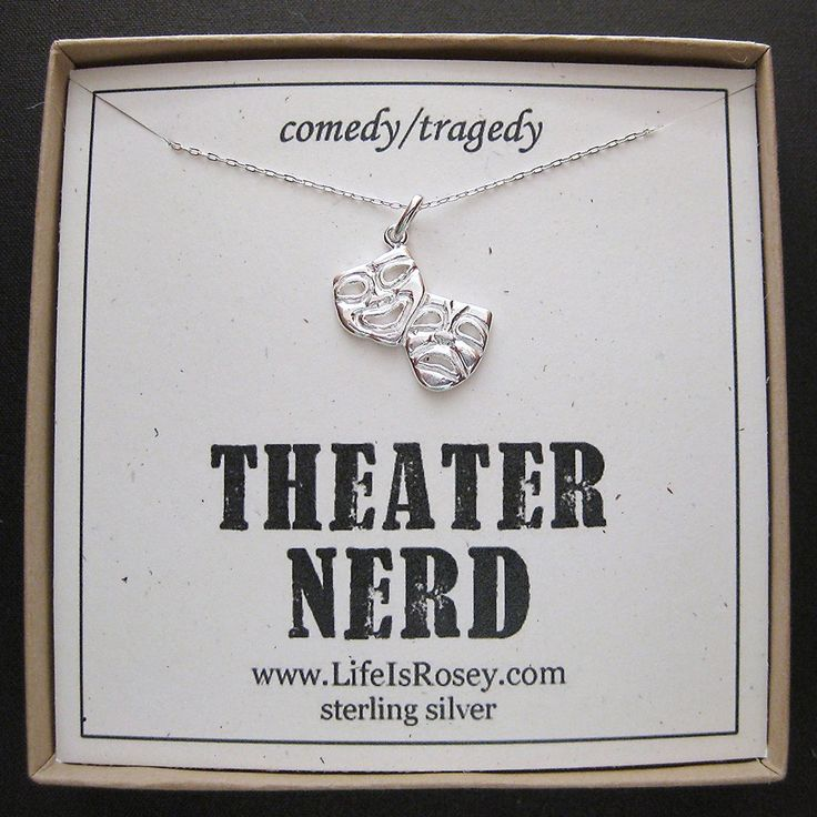 Drama Gift - Theater Nerd Necklace - Comedy Tragedy Charm Necklace - Glee - Gleek - Drama Club - Quote Card. $36.00, via Etsy.