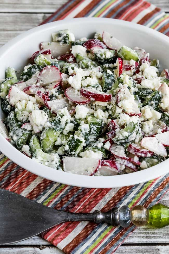 This Cucumber And Radish Salad With Feta Red Wine Vinegar And Buttermilk Dressing Is Easy But Delicious Radish Salad Feta Radish Recipes