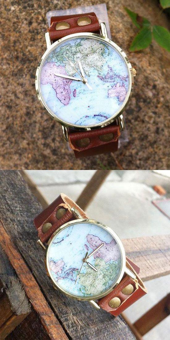 Handmade World Map Retro Leather Watch for big sale ! #wolrd #map #retro #leather #handmade #watch