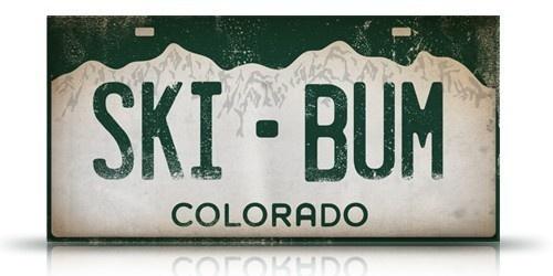 Colorado Ski Bum License Plate Graphic Artwork Collage On