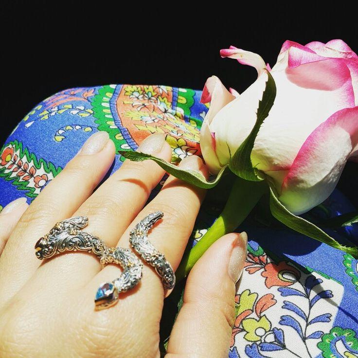Snake# floral # ring# blue topaz# gold 18k# sterling silver# Gerochristo jewelry