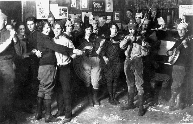 Photo showing a Wasatch Mountain Club dance at the Hermitage Inn in Ogden Canyon, March 1923