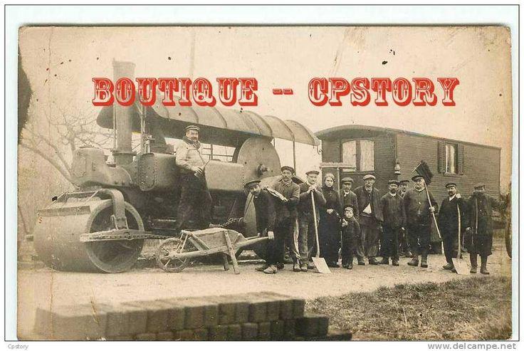CYLINDRE à VAPEUR - Construction de la Route pour Automobiles - Rouleau Compresseur pour Voirie - Belle Carte Photo Rare