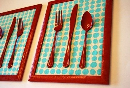 DIY?? paint picture frame, use cute fabic, and paint silverware? Maybe