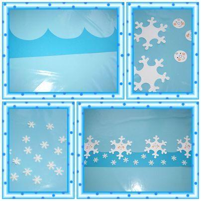 papier cartonné bleu, canson blanc, paillettes blanches, emporte-pièce flocon, papier mousse blanc.