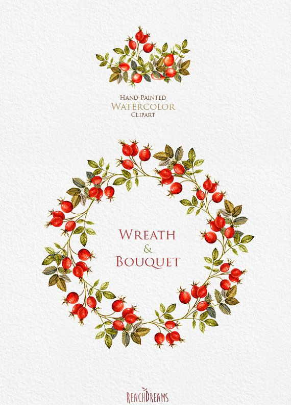 Watercolor Wreaths Bouquets Autumn clipart fall от ReachDreams