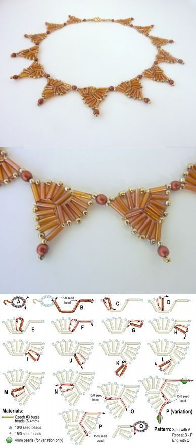 FREE beading pattern for necklace Bugle Triangles - BeadDiagrams.com