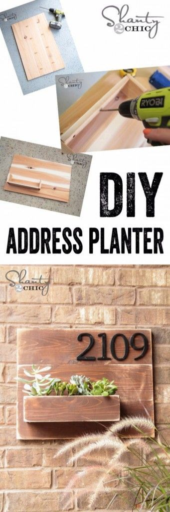 Creative Ways to Increase Curb Appeal on A Budget - DIY Address Number Wall Planter - Cheap and Easy Ideas for Upgrading Your Front Porch, Landscaping, Driveways, Garage Doors, Brick and Home Exteriors. Add Window Boxes, House Numbers, Mailboxes and Yard Makeovers http://diyjoy.com/diy-curb-appeal-ideas