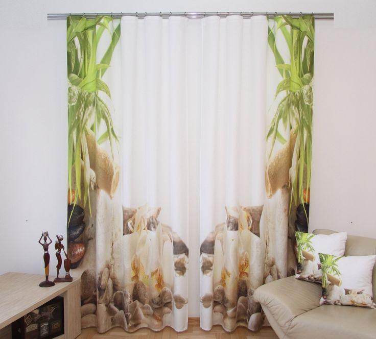 Zasłona 3D koloru białego z zielonymi liściami i kamieniami