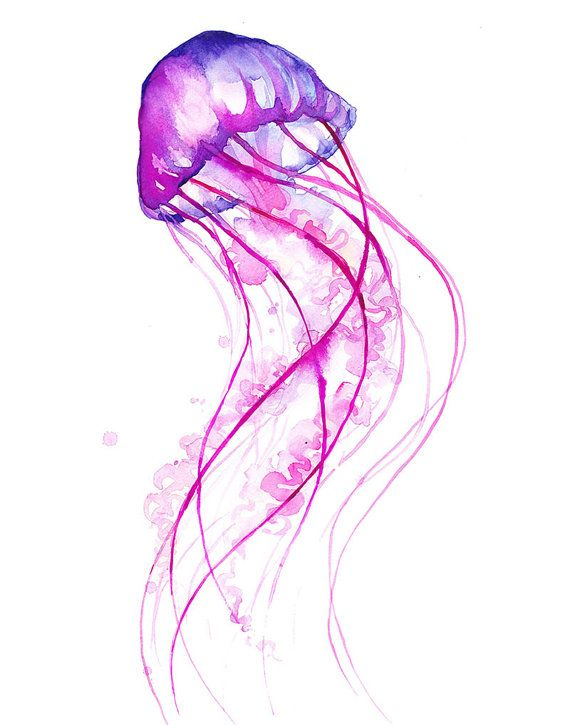 Pink Jellyfish Watercolor Print Fun Colorful by TheColorMaven