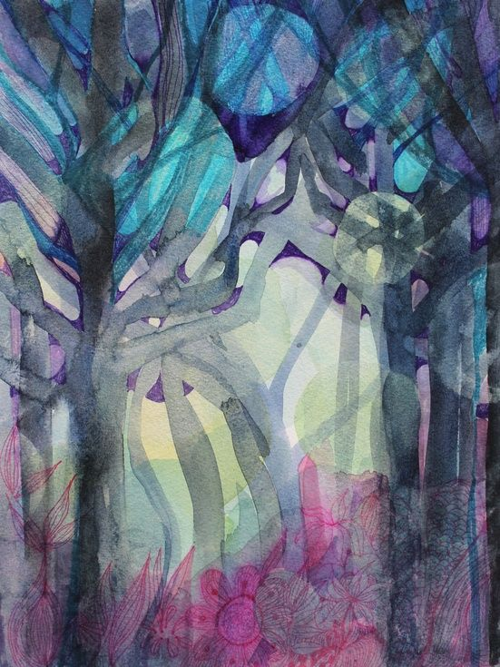 ARTFINDER: Dusky Forest by Helen Wells - A beautiful abstract watercolour painting, with pen, ink and iridescent paint detailing. This work is evocative and mysterious. It depicts a beautiful illusi...