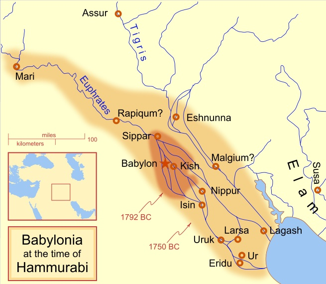 Babylonia at the time of Hammurabi, ca. 1792-1750 BC
