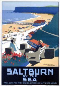Saltburn-by-the-Sea, Yorkshire. Vintage English LNER Travel Poster Print