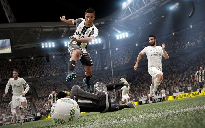 Download wallpapers FIFA 18, 4k, Juventus, Real Madrid, Paulo Dybala, 2017 games, football simulator, FIFA18, Juve, Galacticos