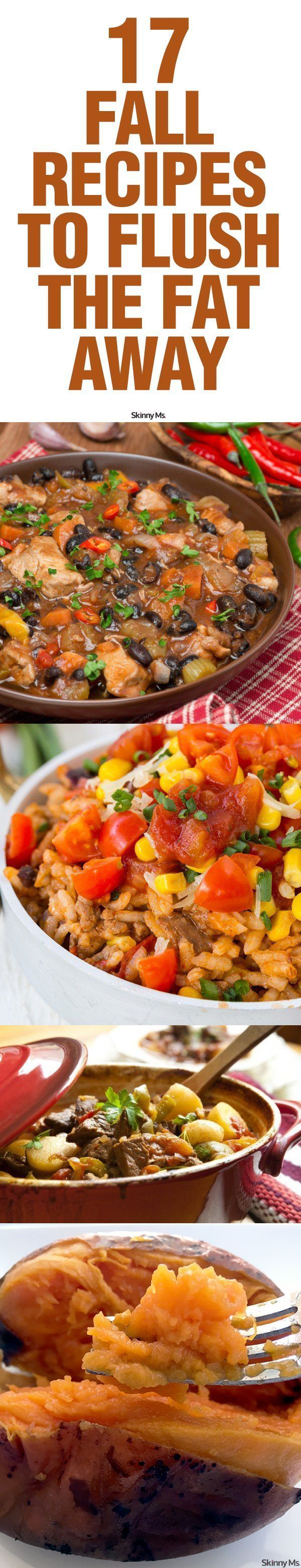 Try these 17 Fall Recipes to Flush the Fat Away to stay healthy all season long--a lot of these recipes are good, cleaning eating options for a holiday meal.