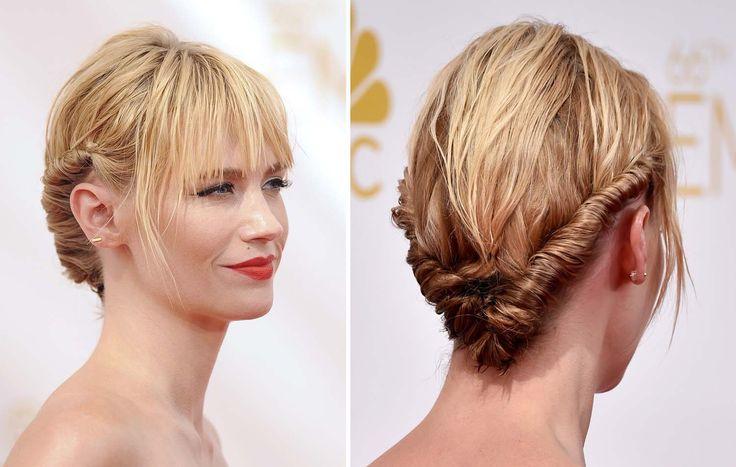 Emmy Awards: les 15 looks beauté à copier | Femina Les cheveux entortillés de January Jones tiennent grâce à de simples pinces à chignon.