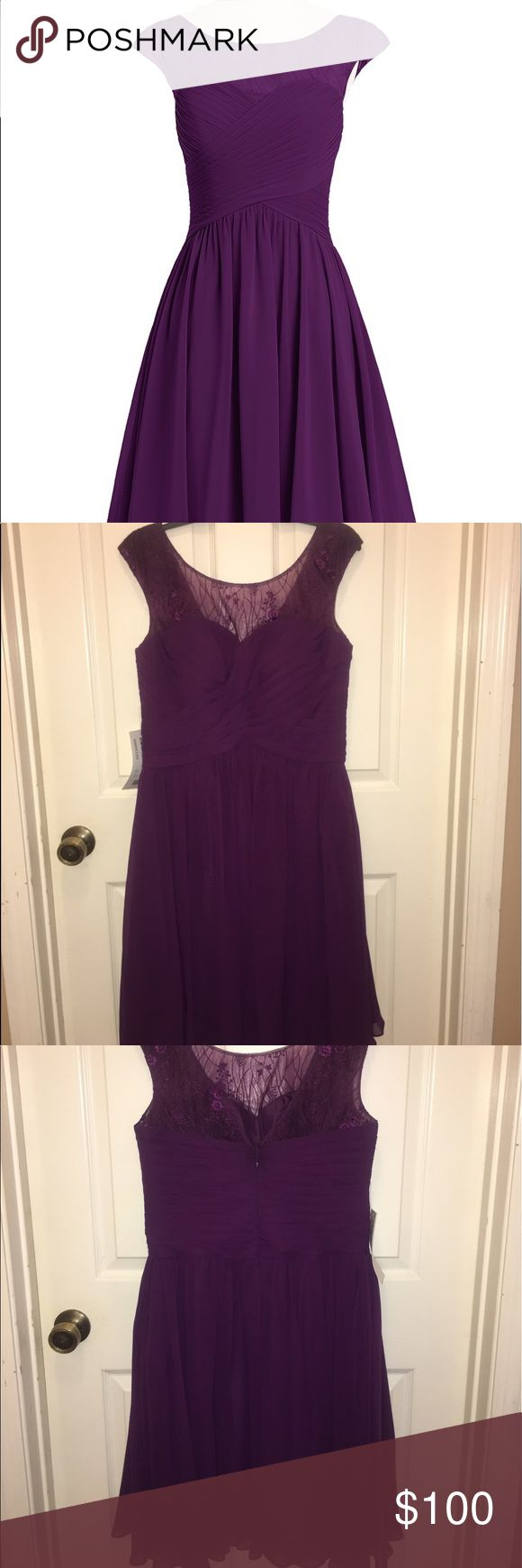 NWT - Azazie Betty Dress in Grape NWT - Purple knee-length a-line chiffon cocktail dress. This grape colored Betty dress from Azazie is made from chiffon and lace, featuring a pleated sweetheart neckline with a lace overlay and cap sleeves. Perfect for events, weddings, bridemaids, and cocktail parties! View size chart for measurements. Dress is size A12. Ships quickly from smoke free home. Make an offer! Azazie Dresses