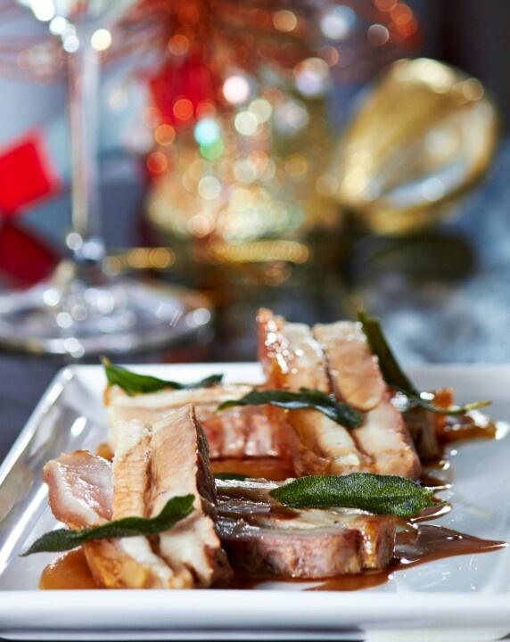 Pork belly, maple glaze and crisp sage.