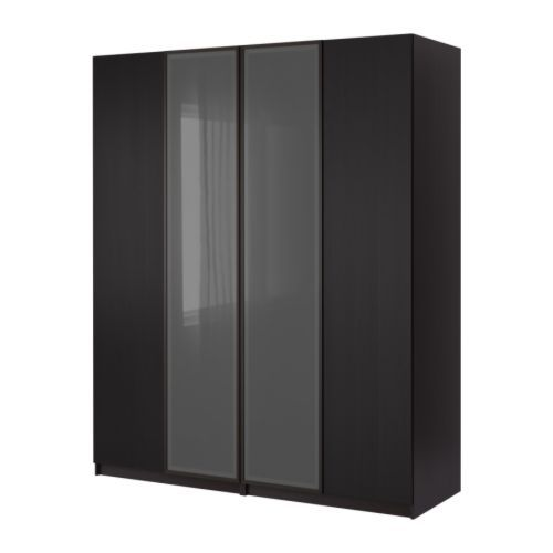 pax wardrobe with 4 doors black brown nexus fevik fevik black brown frosted glass black brown. Black Bedroom Furniture Sets. Home Design Ideas