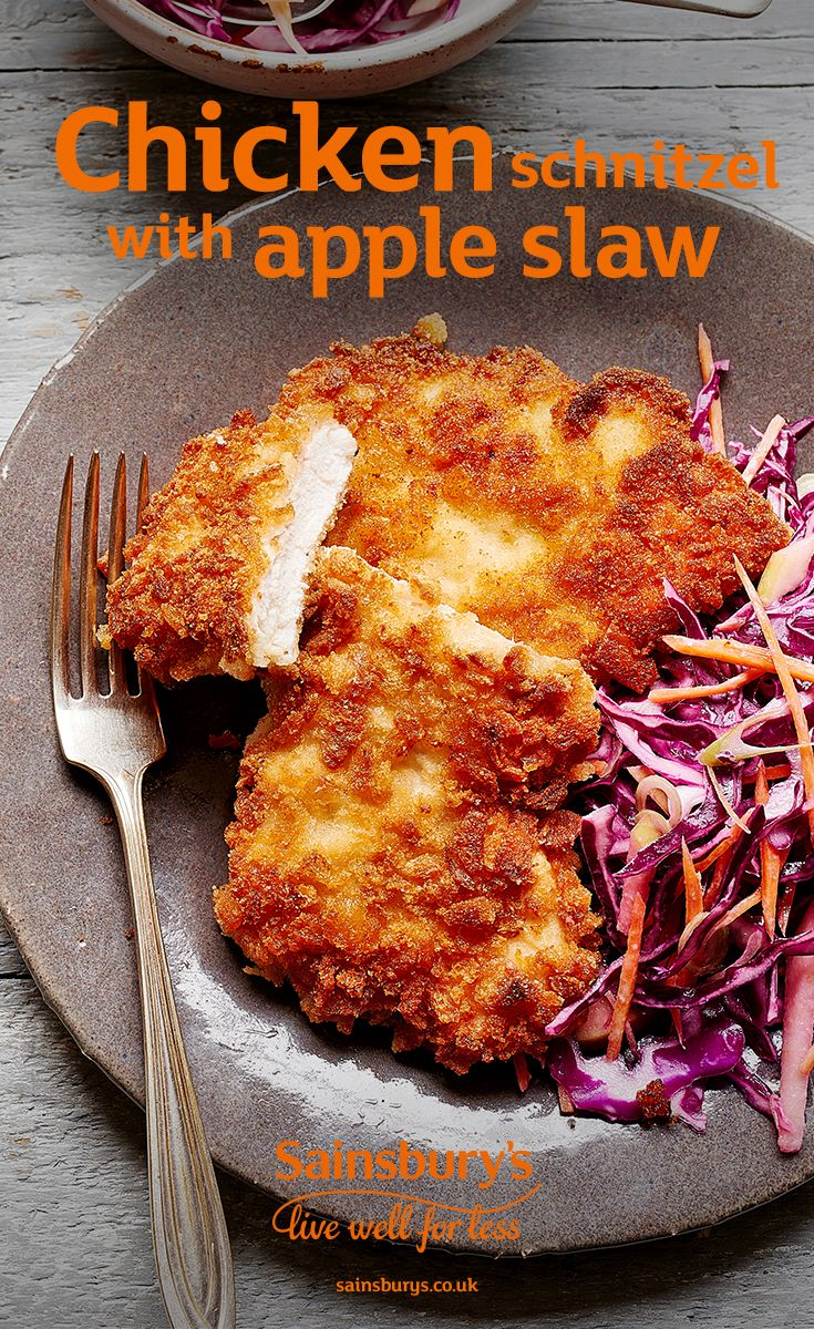 A deliciously crispy chicken schnitzel with a fresh and crunchy slaw? Yes. Please.