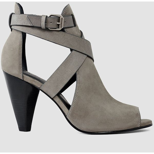 AllSaints Benny Heel Sandal ($415) ❤ liked on Polyvore featuring shoes, sandals, dark grey, dark grey shoes, leather heeled sandals, allsaints, heeled sandals and leather footwear