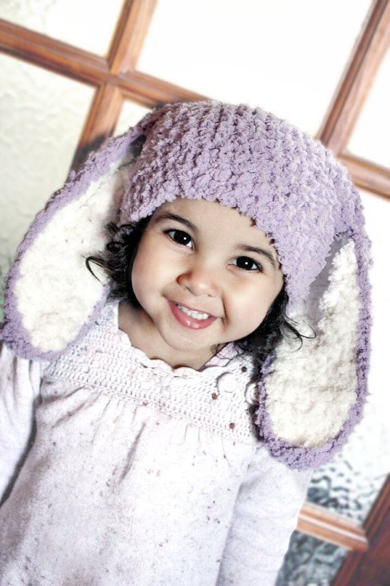 6 to 12m Lilac Bunny Hat, Crochet Baby Girl Hat, Easter Bunny Baby Hat, Lilac Cream Bunny Beanie, Bunny Rabbit Hat, Bunny Costume Photo Prop.  Baby and childrens gift ideas. #baby #children #kids #kidsfashion #babyboy #babygirl #easter #bunny #bunnyhat #babyhat #hat #babamoon #etsy #photoprop #bunnycostume #halloweencostume