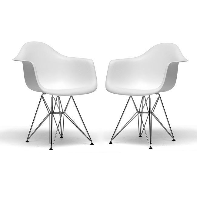 Ayers chair is a modern take on the shape of an armchairFurniture is made from a white plastic seat and a strong steel baseSet of two chairs feature black plastic floor protectors