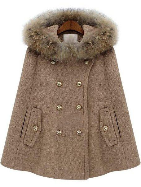 Camel Fur Hooded Double Breasted Pockets Cape Coat US$75.87