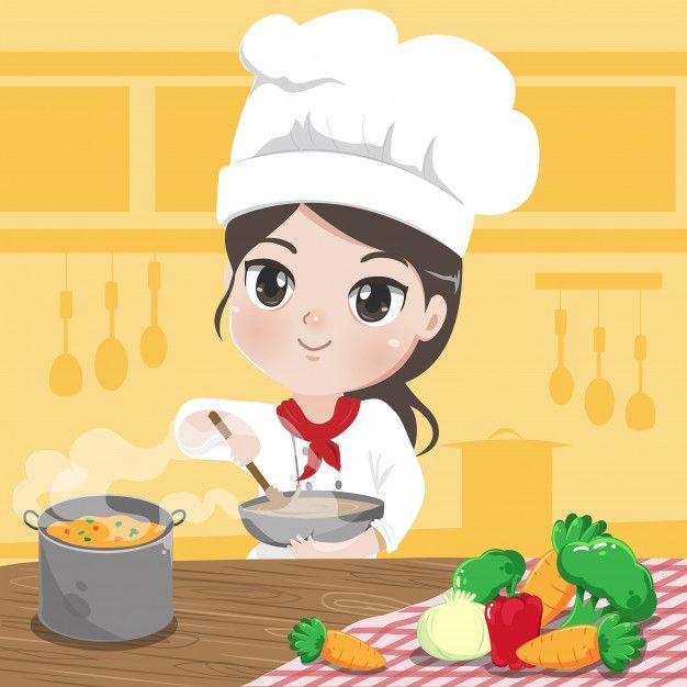 Chef Chica Esta Cocinando Y Sonrie En La Premium Vector Freepik Vector Comida Pe Chef Caricatura Tarjetas De Presentacion Lindas Logotipo De Caramelos