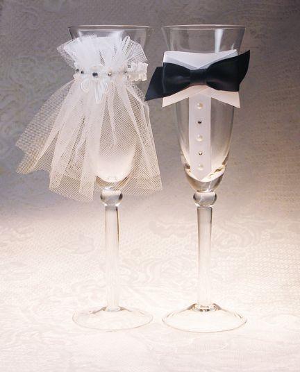 Preciosa decoración de copas para boda. Tutorial.
