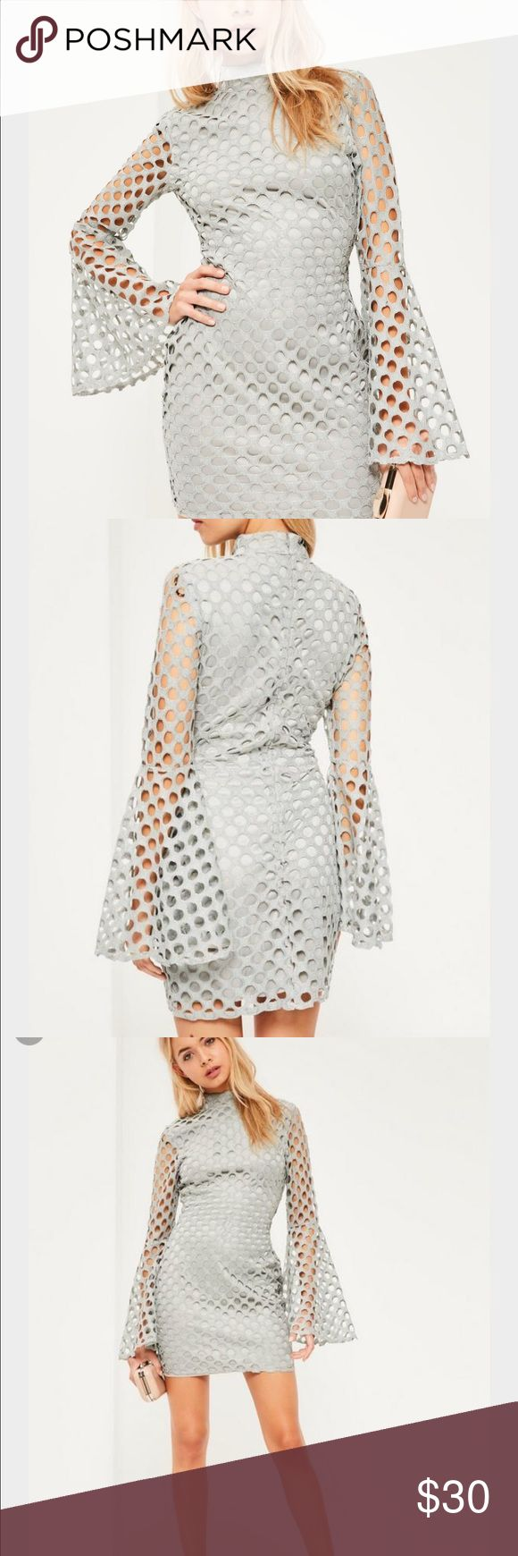 Brand New Missguided gray mini dress with Sleeves Gorgeous brand new grey flute sleeve circle lace high neck bodycon dress from Missguided.  US size 4 Missguided Dresses Mini