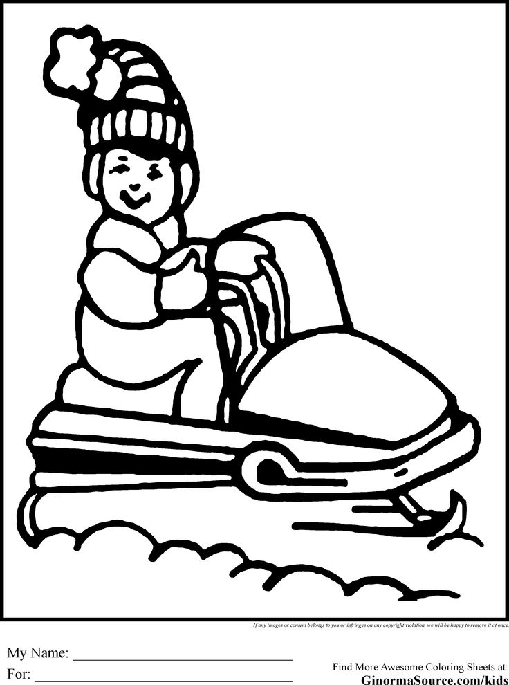 Free Printable Christmas Coloring Pages Snowmobile