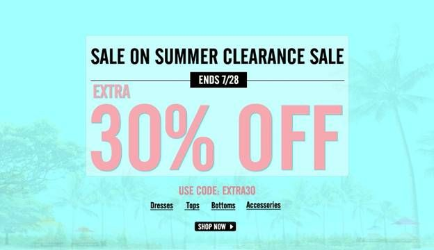 Extra 30%off on sale items (Code: EXTRA30) From 22th to 28st July Free shipping worldwide within 24 hours Go and find your new look : http://www.romwe.com/summer-clearance-sale-c-536.htmlhttp://www.romwe.com/summer-clearance-sale-c-536.html