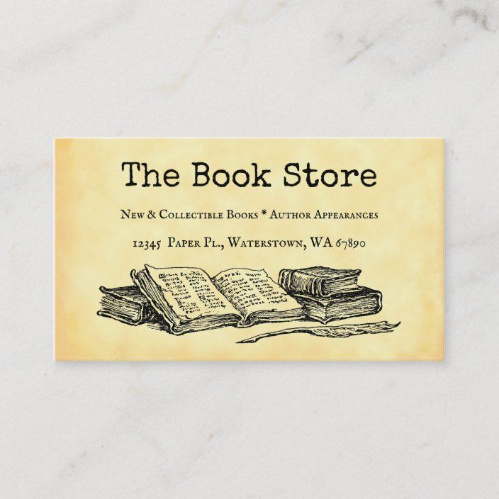 Book Store Custom Business Card Zazzle Com Custom Business Cards Bookstore Cards