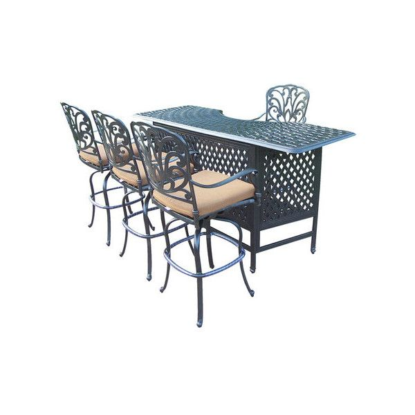 5 Piece Hampton Indoor/Outdoor Bar Set Backyard Bliss ❤ liked on Polyvore featuring home, outdoors, patio furniture, outdoor bar table, outdoors patio furniture, outside bar stools, 5 piece outdoor furniture and outdoor bar height table