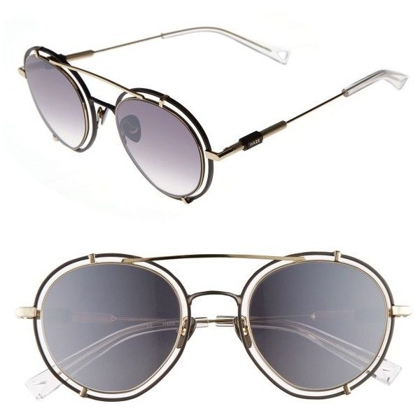 Women's Haze Pyn 55Mm Mirrored Sunglasses ($289) ❤ liked on Polyvore featuring accessories, eyewear, sunglasses, metallic, round mirror sunglasses, round mirrored sunglasses, mirror lens sunglasses, mirror sunglasses and rounded sunglasses