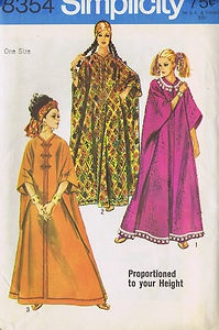Simplicity Pattern  Pattern Number 8354    Misses Height Proportioned Caftan Pattern  All Sizes Included in Envelope    The one size Caftan pattern can be made in any one of three proportioned heights--short, average or tall.  The Caftan is collarless and has shaped neckline and front zipper closing.  There are openings at ends of shoulder and side seams of the arms.  View 1 has ball fringe trim.  View 2 has rick rack trim.  View 3 novelty braid and frog trim.