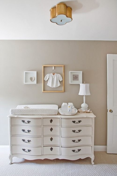 "Pretty neutral nursery. Paint is ""Light Gray"" by Farrow & Ball. I want to paint my childhood dresser white like this."