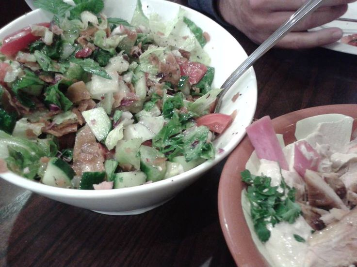 Fattoush Salad & Hummus with Shawarma Chicken @ El Mayor