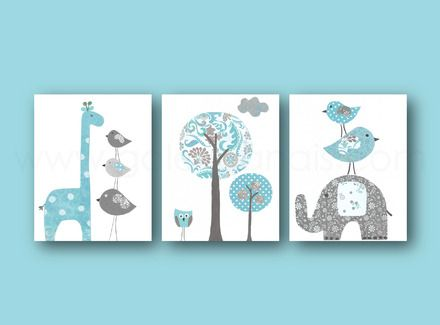Lot de 3 illustrations pour chambre d'enfant et bebe  bleu gris  elephant  girafe