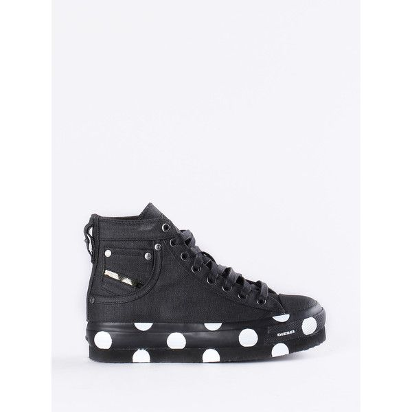 Diesel S-EXPOSURE FLATFORM Sneakers (£130) ❤ liked on Polyvore featuring shoes, sneakers, black, women, diesel trainers, kohl shoes, flatform shoes, black flatform shoes and diesel footwear
