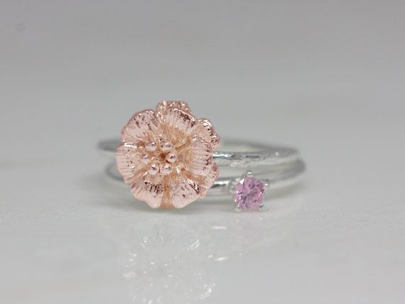 October birth flower and stone ring set birth flower by TedandMag
