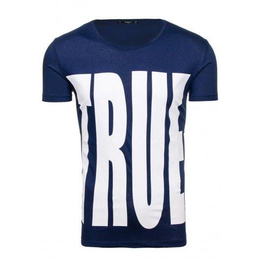 Tričko pre pánov v modrej farbe s nápisom TRUE - fashionday.eu