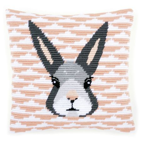 Hop to it with this gorgeous cushion panel kit which features a grey bunny face against a pastel pink background.