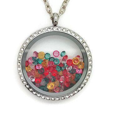 Colourful Floating Locket Necklace, Living Locket Jewellery, Crystal Gem Floating Locket, Summer Locket, 34mm Glass Locket by LittleBitsOfBling on Etsy